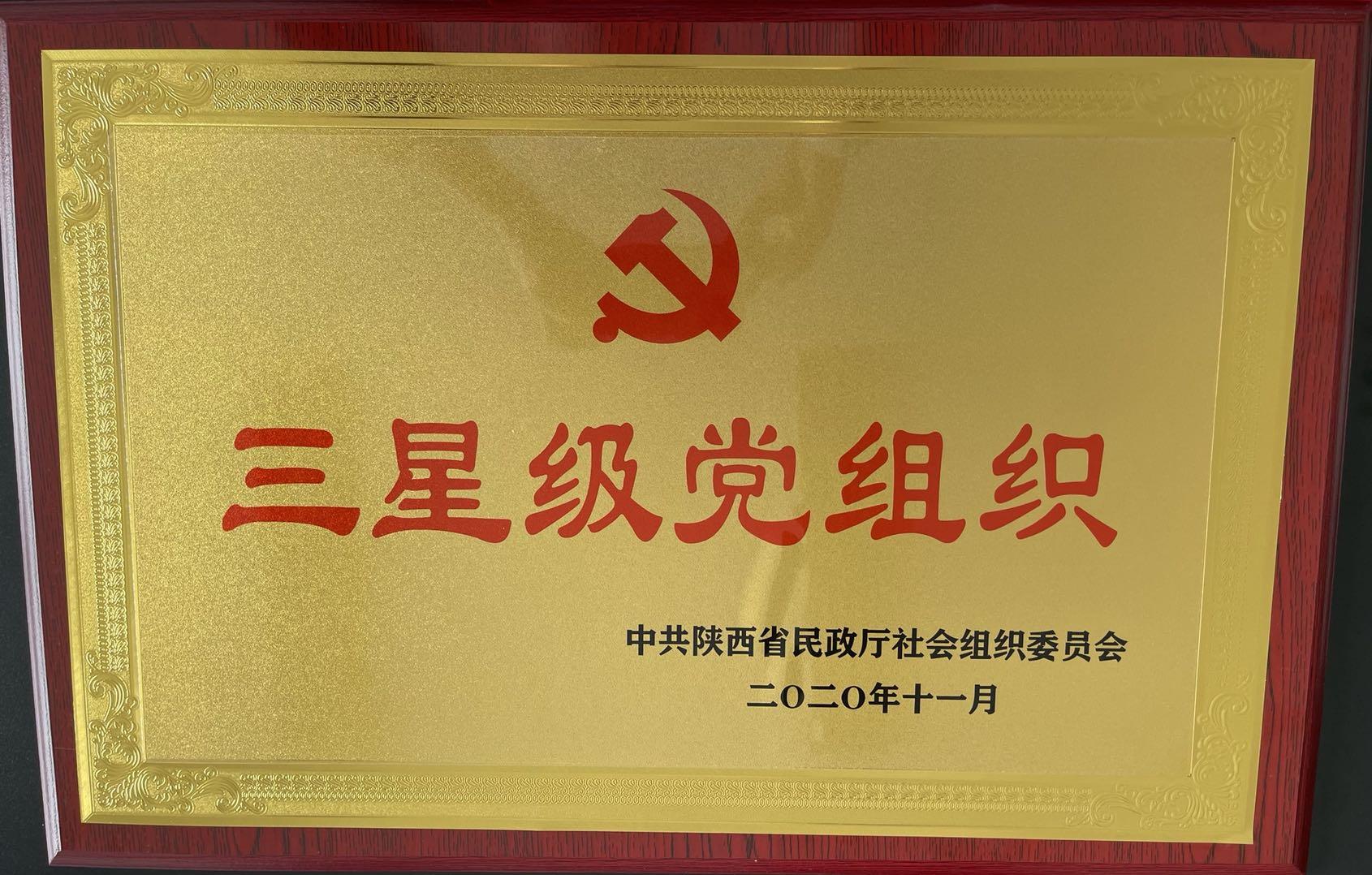 祝贺陕西省城镇供水排水协会党支部被评为三星级党组织